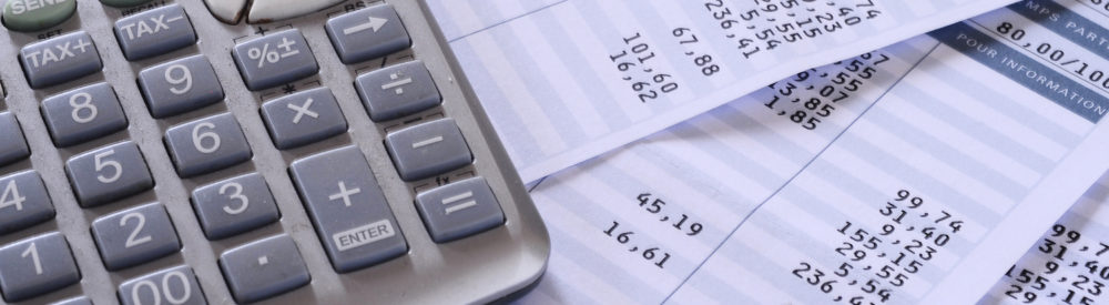 Close up of payroll summary detail with figures and euro
